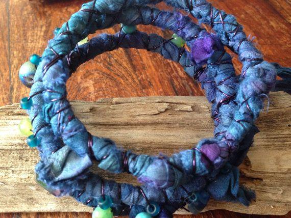 Boho recyled upcycled sari silk beaded wire by TheBeadedArmadillo