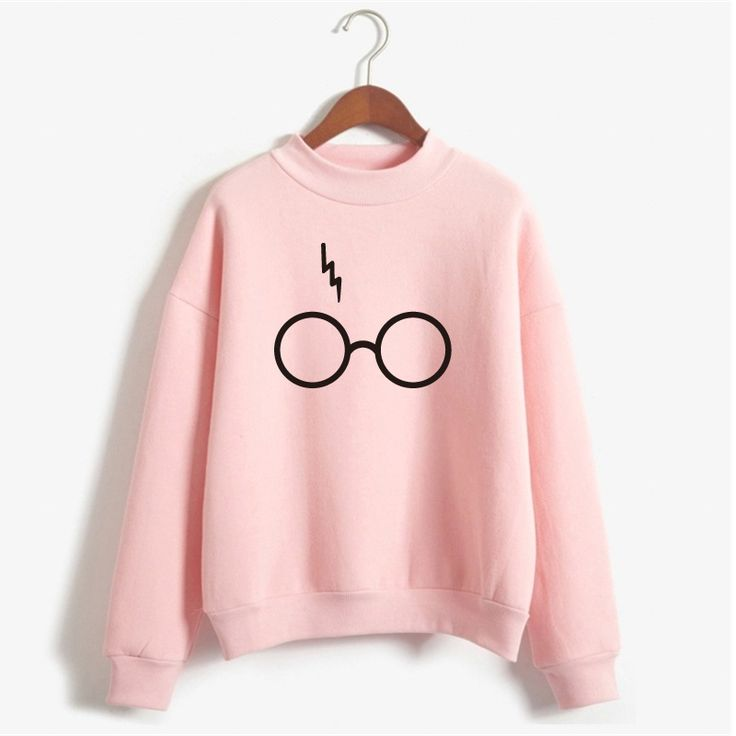 Harry Potter Glasses Print Sweatshirt Women Hoodie O-Neck Long Sleeve Cotton Fleece Sweatshirt Printed Pullover Woman NSW-21568 - free shipping worldwide (Diy Clothes Sweater)