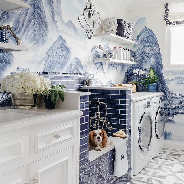 Quite possibly the most beautiful #laundryroom ever by @dinabandmaninteriors