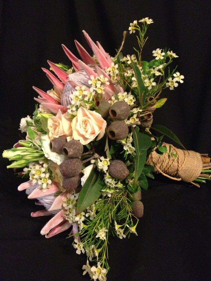 side view of bouquet - stems finiahed with hessian and natural jute twine