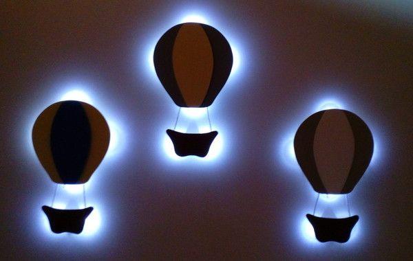 Kit 3 Luminaria Balao Com Luz Led Sem Fio Parede Quarto Bebe Com