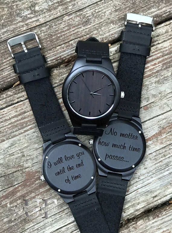 Wood Watch, Anniversary Gifts for Boyfriend, Black Watch, Wooden watch, Leather watch, Engrav…