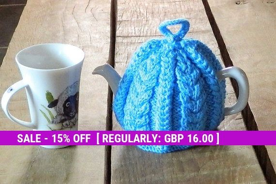 Teapot covers, Blue cable, Hand knitted, Tea cosy, handmade teacosies, home made cozy, tea pot cover, tea lovers gift, fits 2 - 4 cup cosie,
