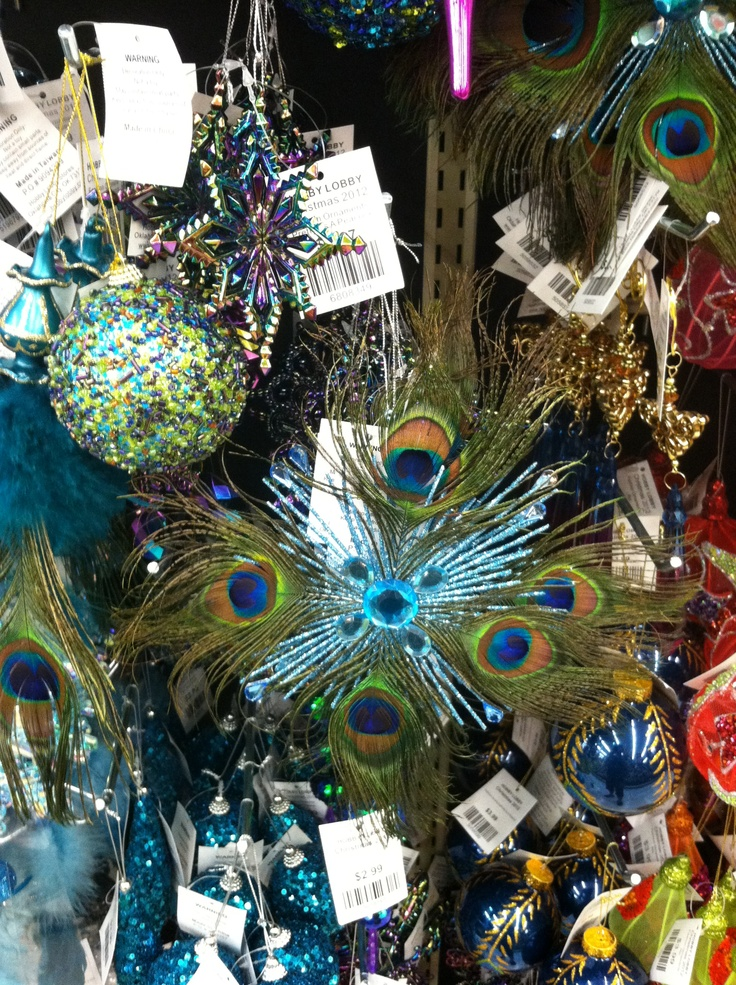 Peacock ornaments @Hobby Lobby | Christmas decorating ...