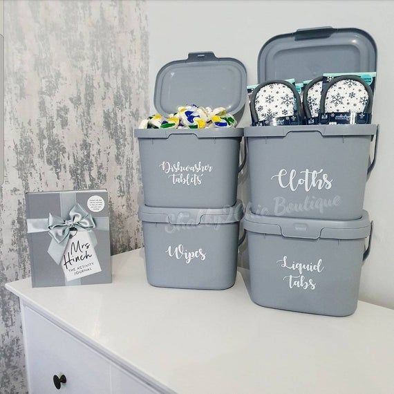 Customised Recycled Grey Stackable Storage Caddy Compost Bin Caddy With Lid And Handle Eco Range Baskets In 2020 Stackable Storage Cupboards Organization Cleaning Cupboard