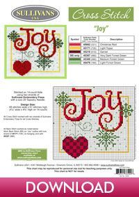 Winter Collection Joy; free cross stitch pattern from Sullivans