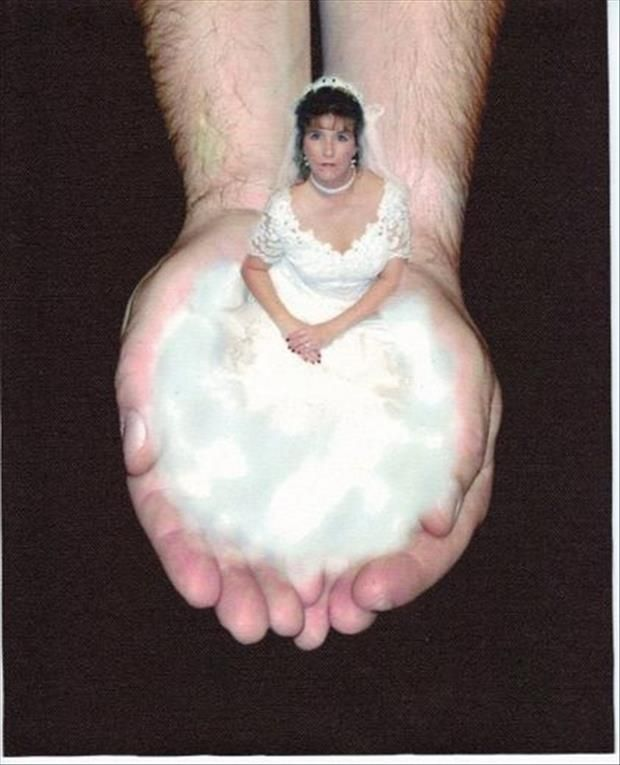 This may be the worst wedding photo we've ever run across and we certainly wouldn't recommend it for our clients