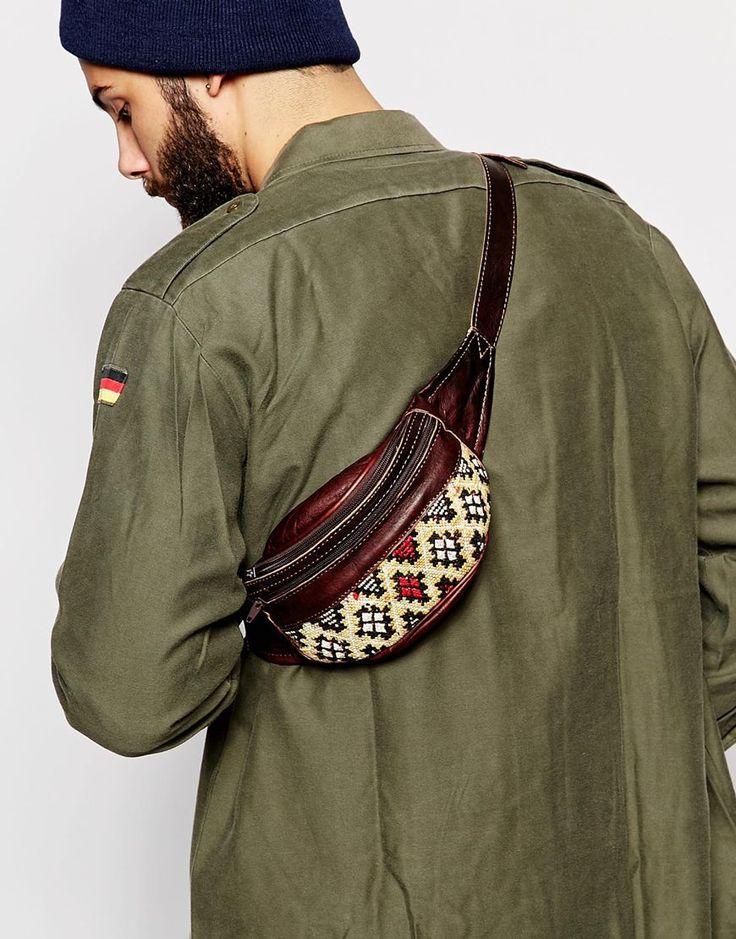 Image 3 ofReclaimed Vintage Kilim Bum Bag With Leather Trims