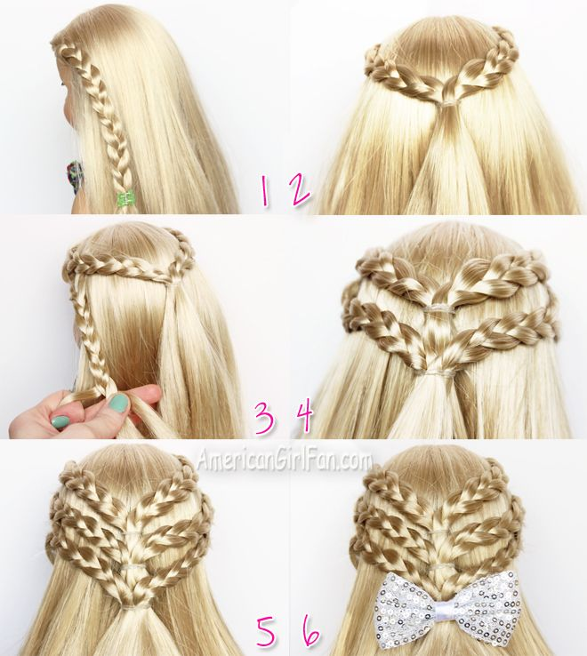 Triple braided half-up doll hairstyle.