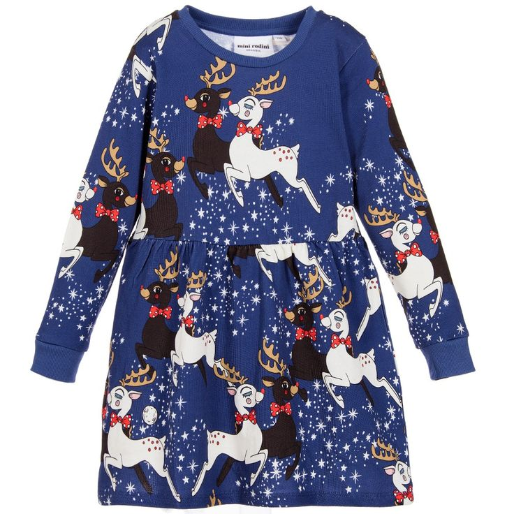 Mini Rodini - Girls Blue Reindeer Organic Dress |