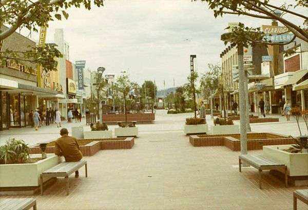 Charles Luckman's 1965 design for the Santa Monica Mall featured reflecting pools, benches, and planters where a vehicular roadway once ran. Courtesy of the Santa Monica Public Library Image Archives. Great article at http://www.kcet.org/updaily/socal_focus/history/la-as-subject/how-santa-monicas-third-street-became-a-promenade.html