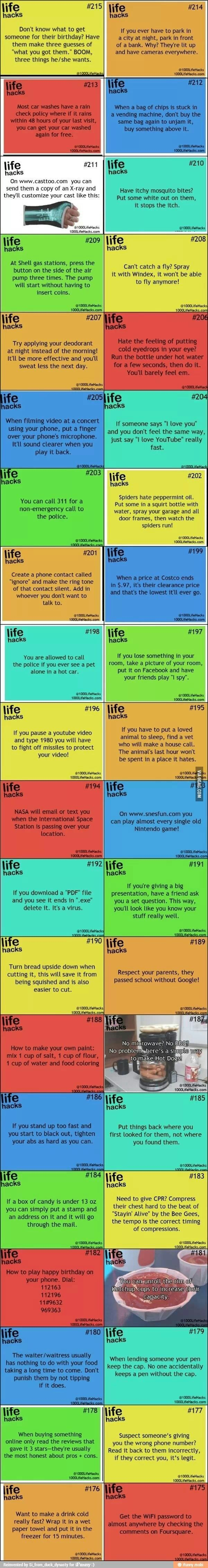 Hate these long graphics, but some good life hacks (where did that expression come from anyway?).