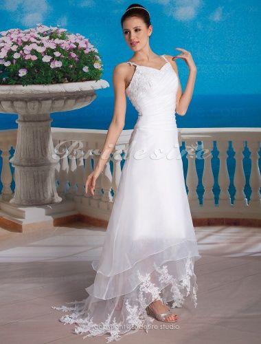 A-line Organza Asymmetrical V-neck Wedding Dress - $99.99