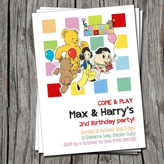 Kids Birthday Invitation Playschool ABC - Modern, Contemporary Kids birthday Invitation - Printable, Digital