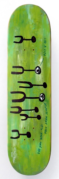 """2004 (some blank Strike deck) Model: Live A Life Specs: 8"""" x 32"""", 7-ply maple, wood by Zenith (Acme). Printing: Acrylic paint, paint pen. NOTES: Sponge and dry brush background, then some weird characters I came up with on top, plus some paint pen lettering. The lettering is a quote from a great song: """"Accused Of Stealing"""" by The Delgados."""