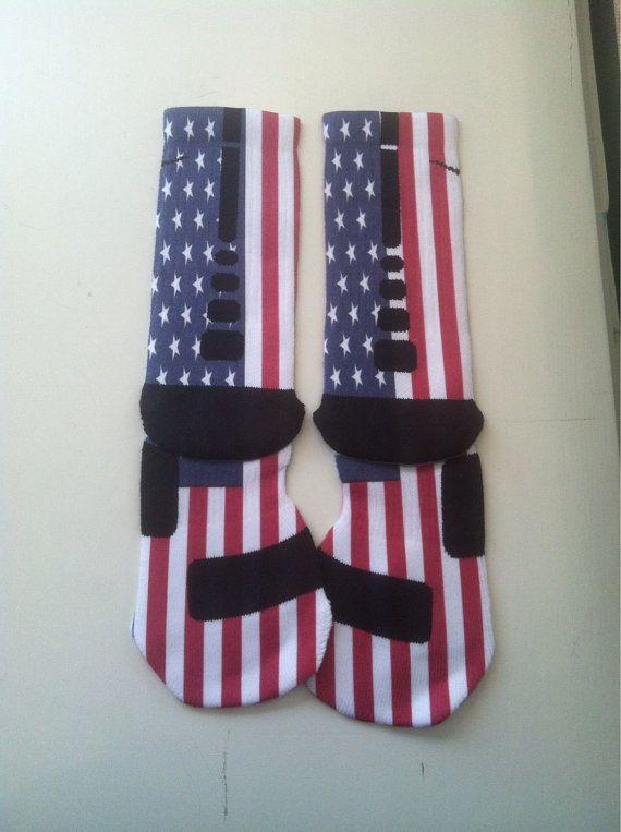 "Custom Nike Elite Basketball socks ""USA"", $25.00"