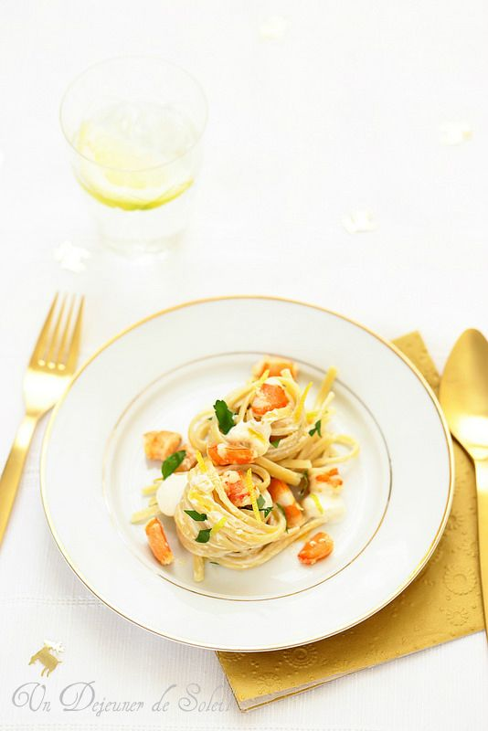 Linguine aux crevettes, mascarpone et citron