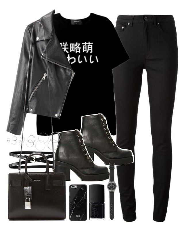 """""""All black outfit"""" by ferned ❤ liked on Polyvore featuring Acne Studios, Jeffrey Campbell, Banana Republic, Yves Saint Laurent, Native Union, NARS Cosmetics, J.Crew and Forever 21"""
