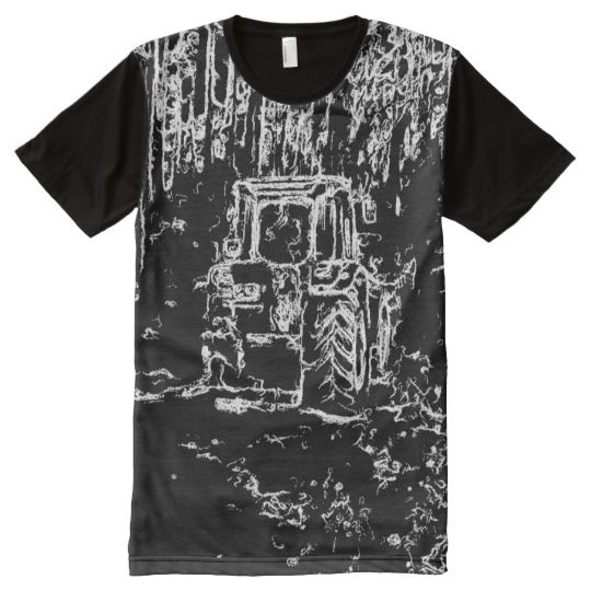 drawing tractor and nature All-Over print T-Shirt A photo with black and white drawing effect on it of a tractor in the forest with many trees in the background.