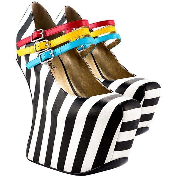 TaylorSays Iris Striped Pumps ($200) ❤ liked on Polyvore featuring shoes, pumps, striped shoes, striped pumps, iris shoes and stripe shoes