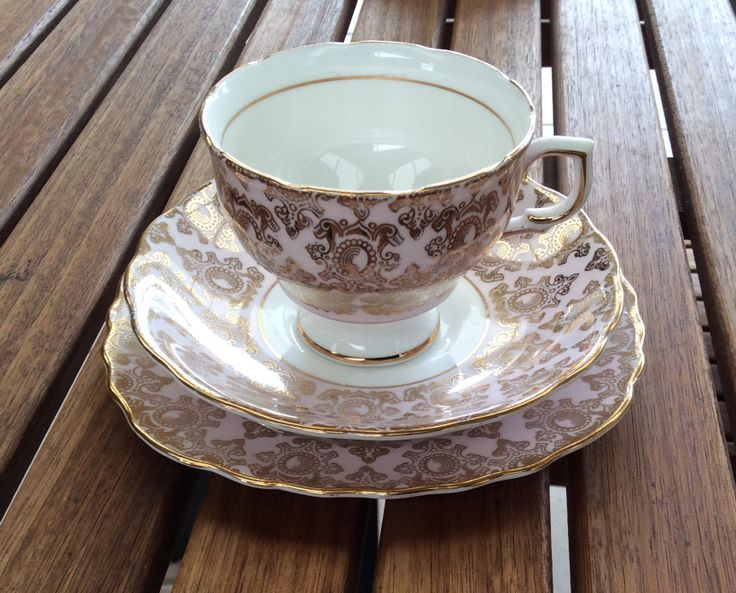 Colclough pink trio, if anyone has a matching side plate I need it! I cracked mine :( such a hard pattern to find a replacement for!