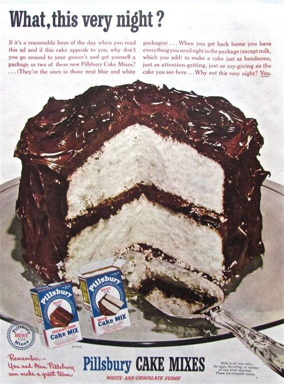 1950s Vintage PILLSBURY CHOCOLATE CAKE Advertisement Retro ...