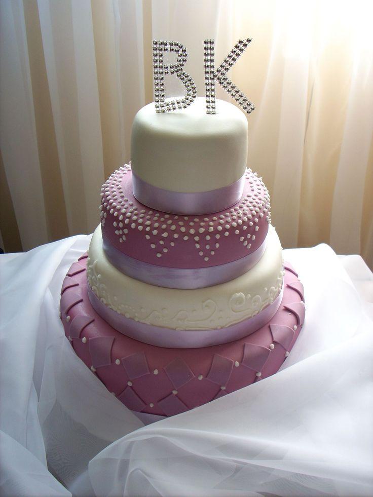 Wedding cake - violet & white