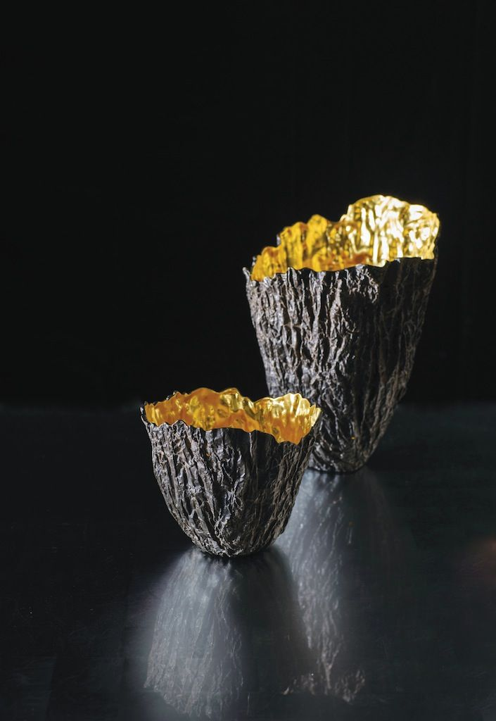 Alexander Lamont Fire Vessels in bronze and gold leaf.