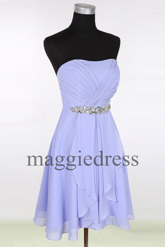 Custom Lavender Beaded Short Bridesmaid Dresses by maggiedress