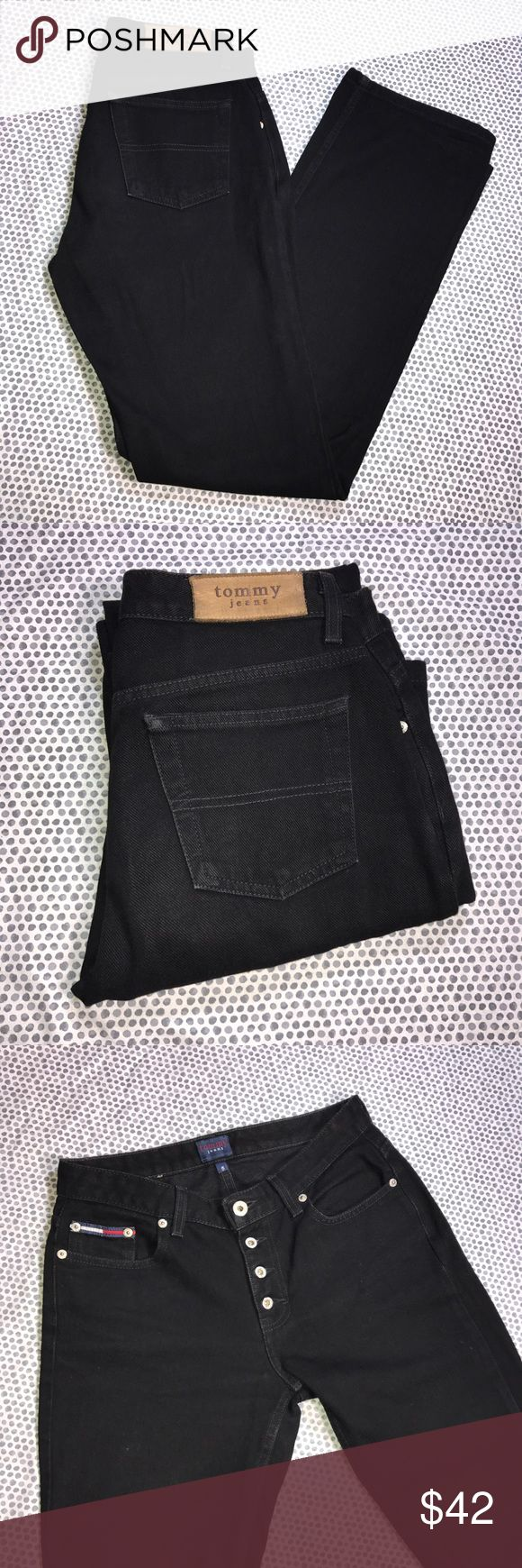 Tommy Hilfiger Early 2000's Black Bootcut Jeans Tommy Hilfiger Early 2000's Black Bootcut Jeans. Used to wear these when I was in high school! Super flattering and back in style! Size 5. Made of 100% cotton. Pre-owned, but in excellent used condition. No holes, stains or pilling. Measurements: Waist laying flat is 14 1/2 inches. Length is 41 1/2 inches. Inseam is 32 inches. Rise is 9 inches. Tommy Hilfiger Jeans Boot Cut