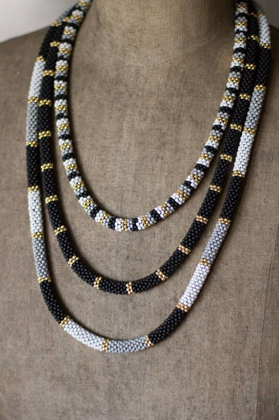 Black Gold Multistrand Necklace, Three Tier Beadwork Necklace, African Necklace, Dainty Black Gold Necklace, Striped Necklace, Chic Jewelry