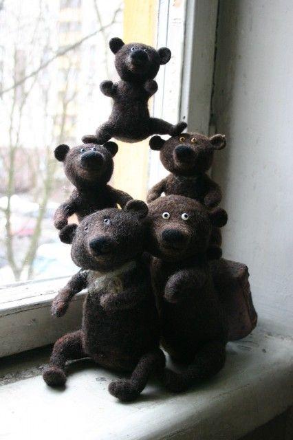 pixy69 needle felted bears