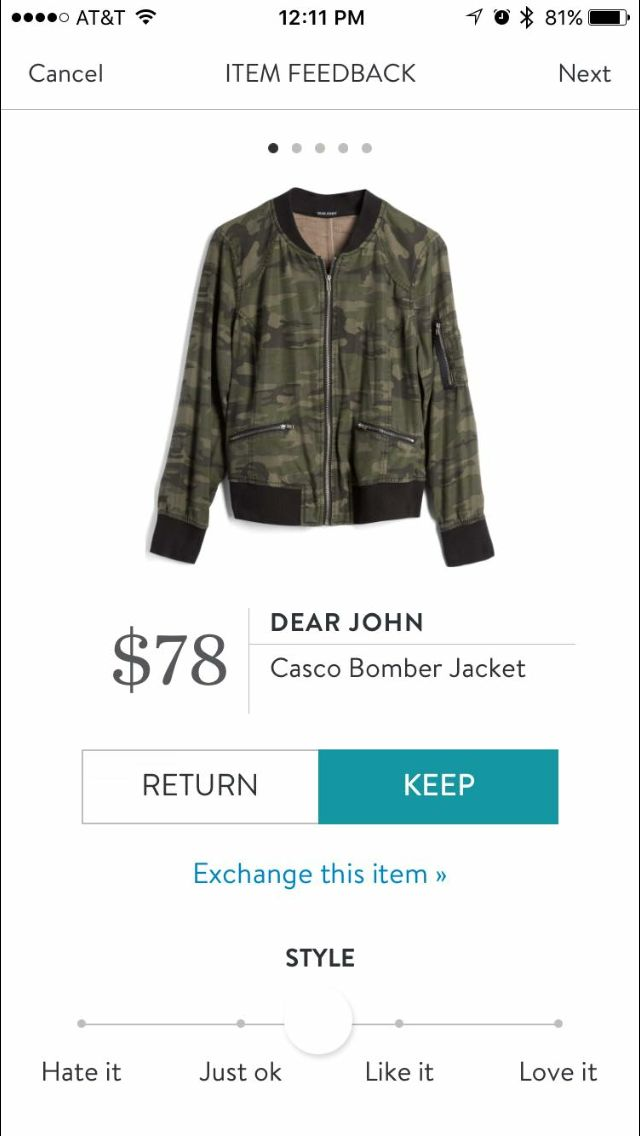 Dear John Casio Bomber Jacket Stitch Fix. I love Stitch Fix! A personalized styling service and it's amazing!! Simply fill out a style profile with sizing and preferences. Then your very own stylist selects 5 pieces to send to you to try out at home. Keep what you love and return what you don't. Only a $20 fee which is also applied to anything you keep. Plus, if you keep all 5 pieces you get 25% off! Free shipping both ways. Schedule your first fix using the link below! #stitchfix…