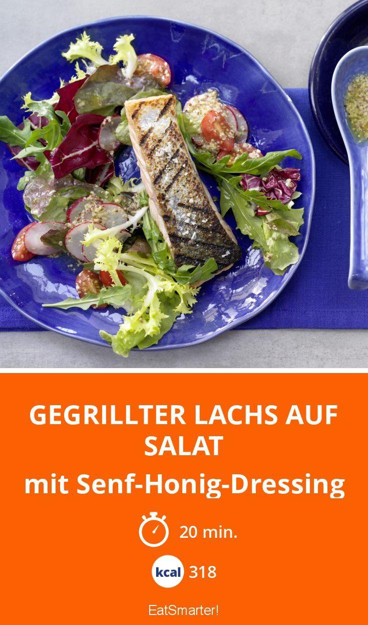 Gegrillter Lachs auf Salat - mit Senf-Honig-Dressing - smarter - Kalorien: 318 Kcal - Zeit: 20 Min. | eatsmarter.de
