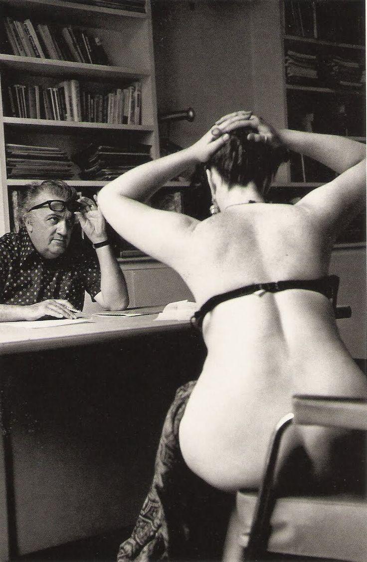 "Federico Fellini auditioning in Paris, 1975, for ""Casanova"" (photograph Michelangelo Durazzo)"