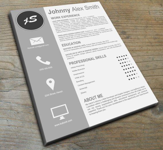 Artistic Resume Template Instant Download door KukookResumes, $11.00