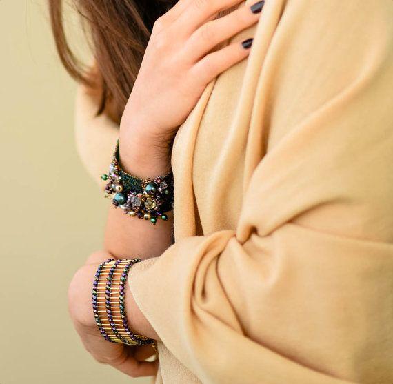 Dark green and purple statement bracelet amazing by TreGrazie
