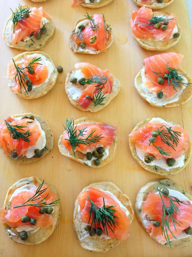 Smoked Salmon, dill & chive bilinis with cream fraiche, capers