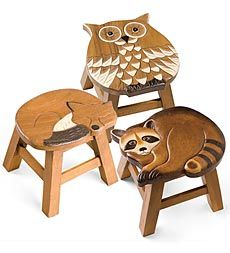 Hand Carved Wooden Animal Stools  Wood be cute for a forest themed nursery