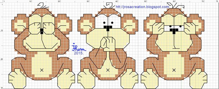 monkeys - free cross stitch pattern