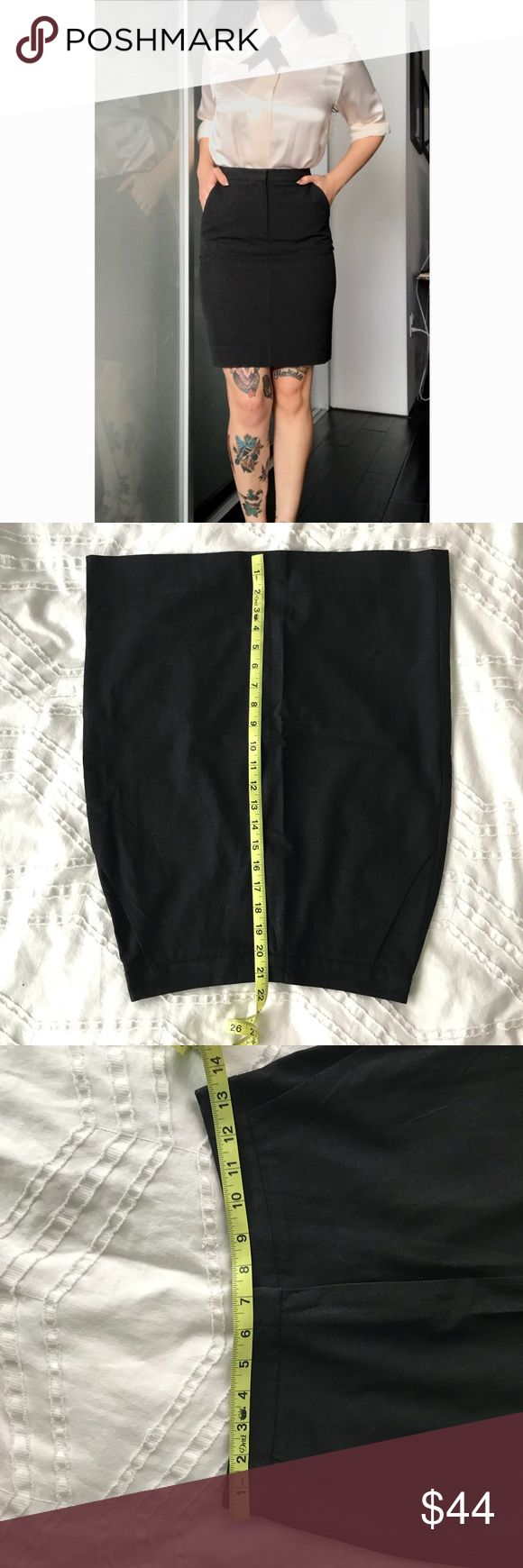 Vtg Trina Turk pencil secretary work skirt Super cute classic skirt that needs to be a staple in every wardrobe.  Dark charcoal color pencil skirt. Tagged at size 2 but please note measurements in pictures. In great condition.  Blouse for sale in separate listing🖤 Let me know if you have any questions! Trina Turk Skirts Pencil