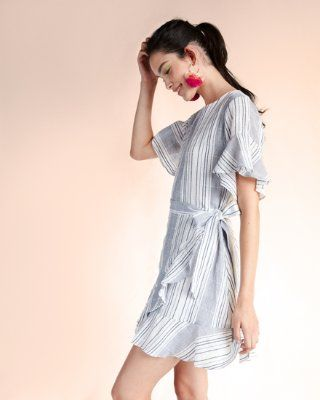 plaid cotton wrap front dress