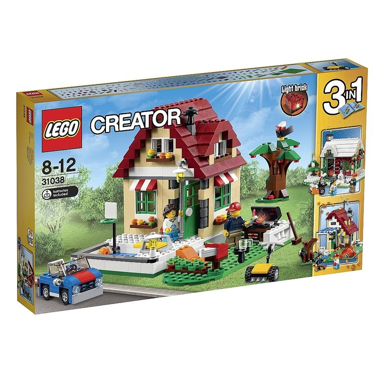 <strong>LEGO Creator - A Mudança de Estações - 31038</strong>, um set com 536 peças, das quais 2 mini figuras com acessórios (um adulto e uma criança). Vive os prazeres do verão, do outono ou do inverno com o maravilhoso conjunto 3-em-1 A Mudança de Estações da <strong>LEGO Creator</strong>! Bem-vindo à encantadora casa de verão com telhas vermelho-escuro, porta dianteira verde, toldos vermelhos e brancos e coloridas floreiras nas janelas. Lá fora, um pequeno pássaro empoleira-se nos ramos…