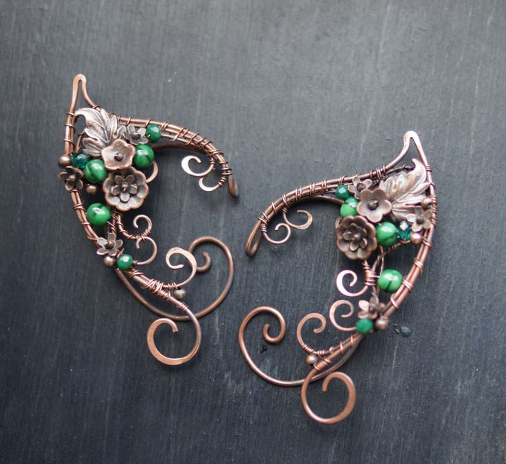 Forest Elven ears (a pair). Earcuffs, Elf ears, fantasy decoration for ears. by StoneSongBijouterie on Etsy
