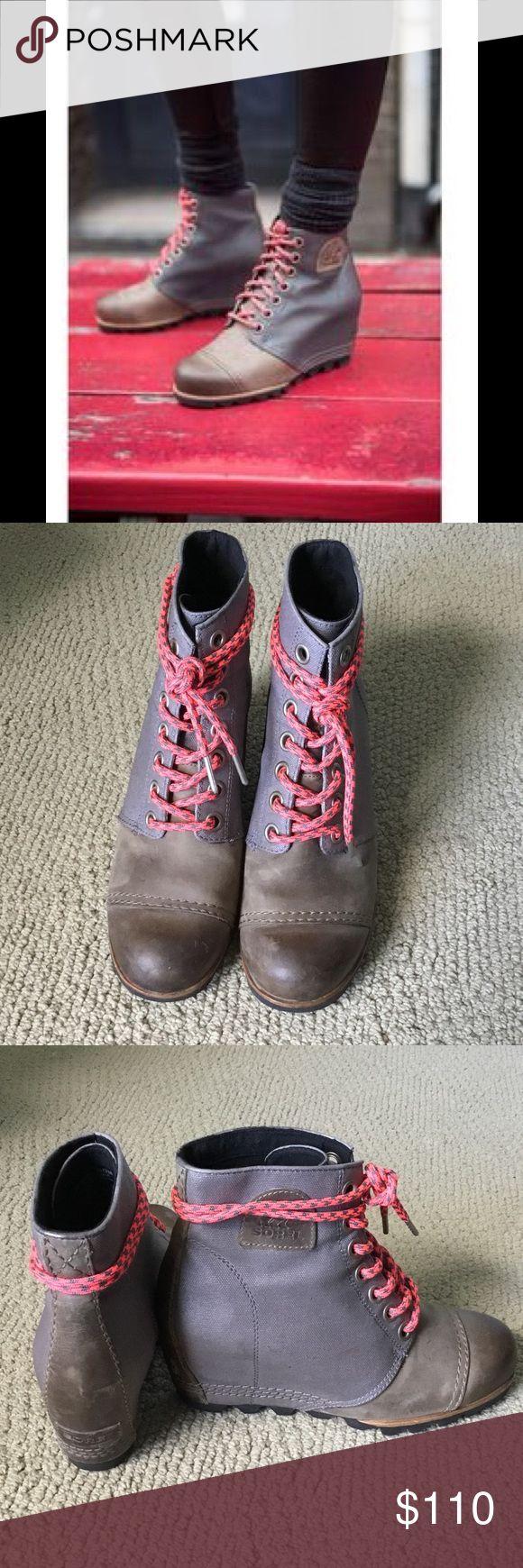 SALE SOREL 1964 premium wedge booties ingrey/brown Gently worn size 9 amazing SOREL wedge booties! Sorel Shoes Ankle Boots & Booties