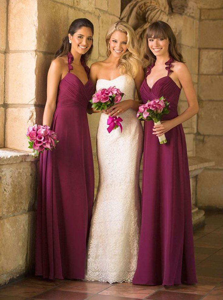 Hot-selling Spaghetti Straps V-neck Fuchsia Bridesmaid Dress Ruched