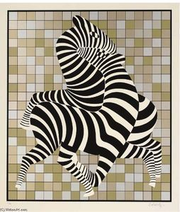 Zebra couple on gold and silver - (Victor Vasarely):