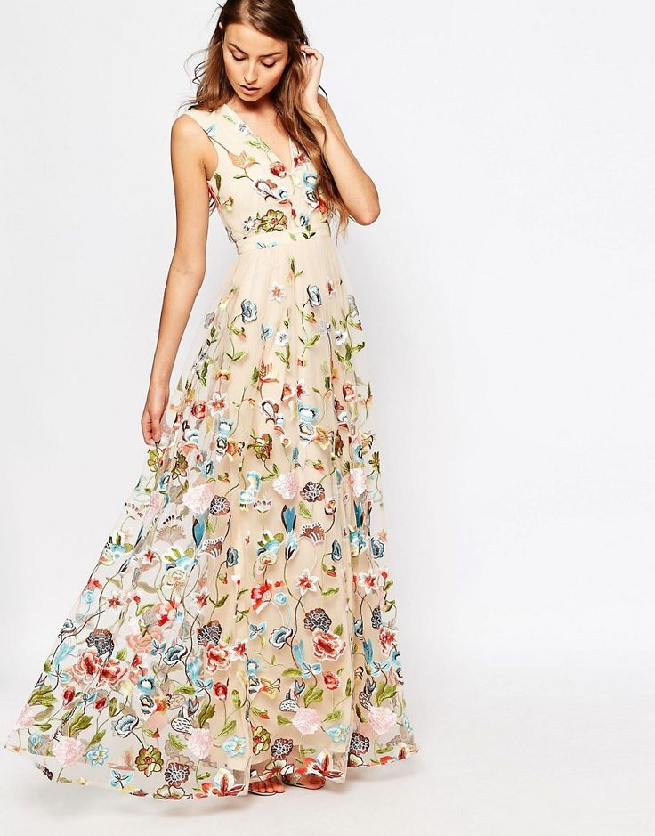 Image 4 of True Decadence Tall Allover Embroidered Floral Maxi Dress