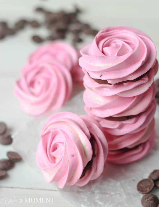 Raspberry Meringue Sandwiches with Whipped Dark Chocolate Ganache Filling