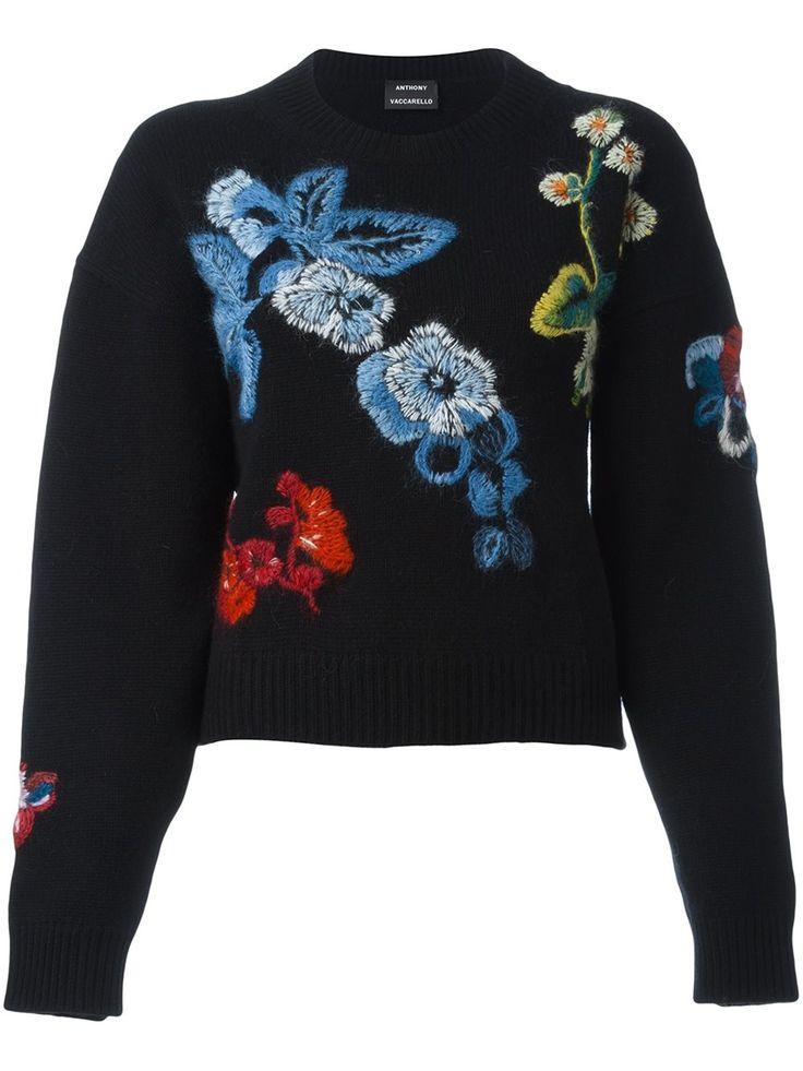Anthony Vaccarello свитер с цветочной вышивкой